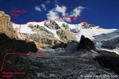 Dykh Tau North Ridge, Classic Route