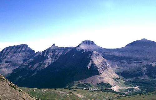 View north from Reynolds Mountain<br> across Logan Pass.