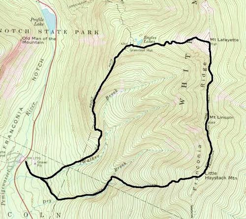 Map showing the loop hike of...