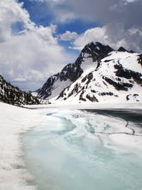 Mount Regan from across icy Sawtooth Lake