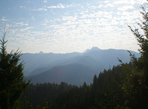 Preston Peak (right center) from the west