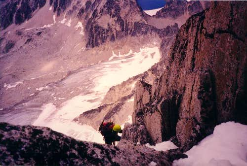 Climbing on the North East Ridge, Bugaboo Spire
