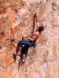 Andrey Vedenmeijer climbs Fr8a (5.13a) in Crimea, Ukraine