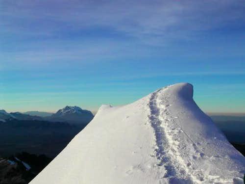 The corniced summit of Huayna...