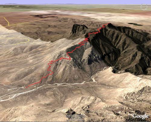 3D Image of Guadalupe Peak Trail