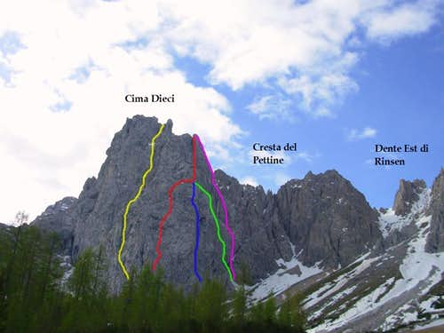 Cima Dieci - Climbing routes on the N-NW face