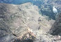 a view down the steep face of...