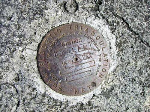 Geo marker at summit of Mt...