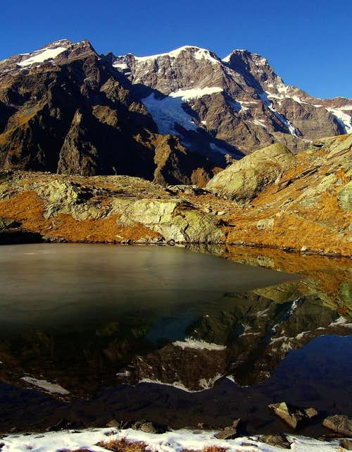 Monte Rosa in iced lake