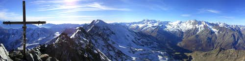 Summit Panorama towards Monte Rosa and Mischabel