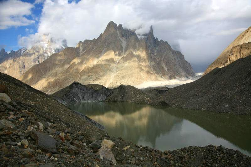 Reflection of Trango Towers in Glacial Lake.