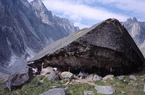 Camping under large boulder in Fairy Meadows, Cirque of the Unclimbables - SummitPost.org