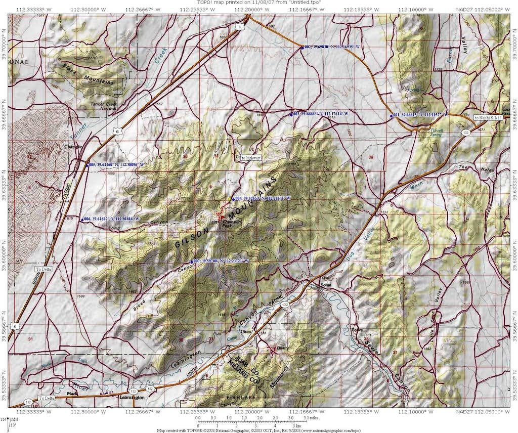 Champlin Peak area map