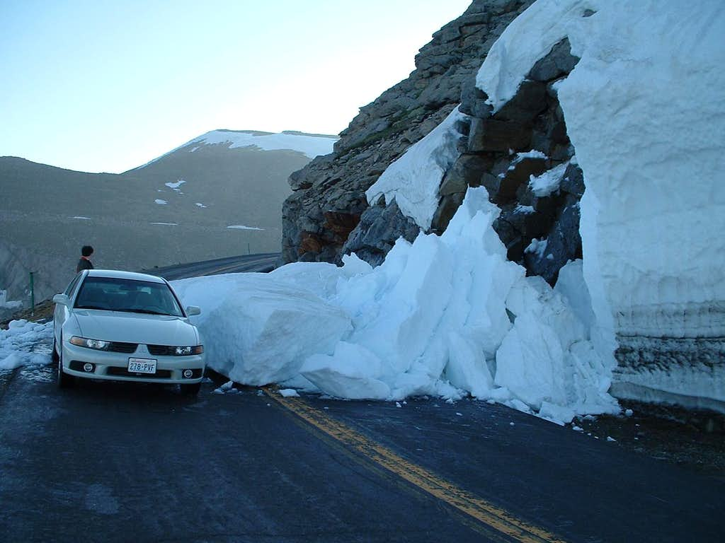 Mini-avalanche on Mount Evans road