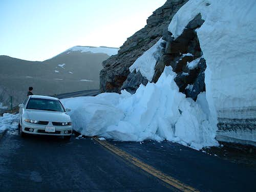 Mini-avalanche on Mount Evans road