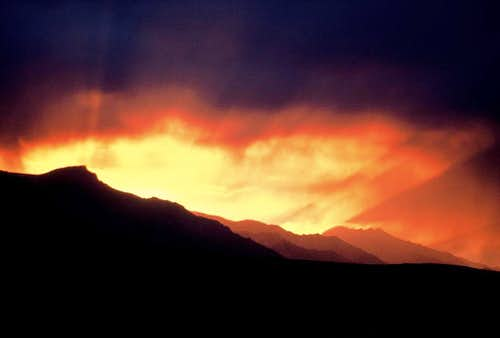 Rainy Sunset Over Lone Pine Peak