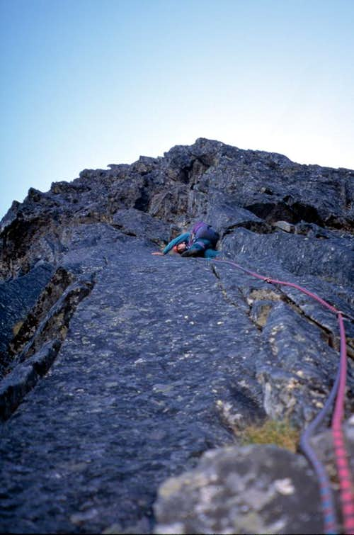 Slesse - Northeast Buttress - crux pitch