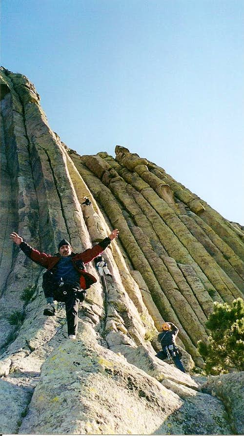 Karate Kid George getting ready to climb Devils Tower