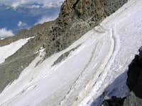 The steepness of the icefield to be crossed.