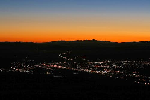 Lights of Elko from Elko Mountain summit