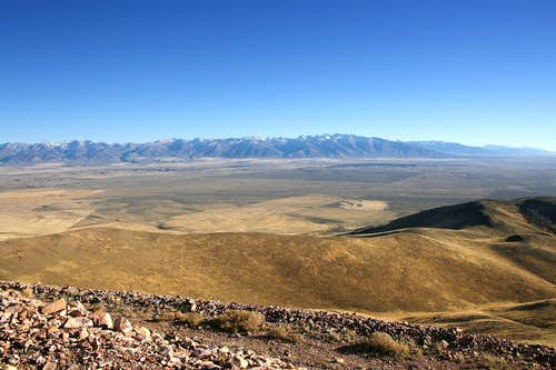 Ruby Mountains from Elko Mountain summit