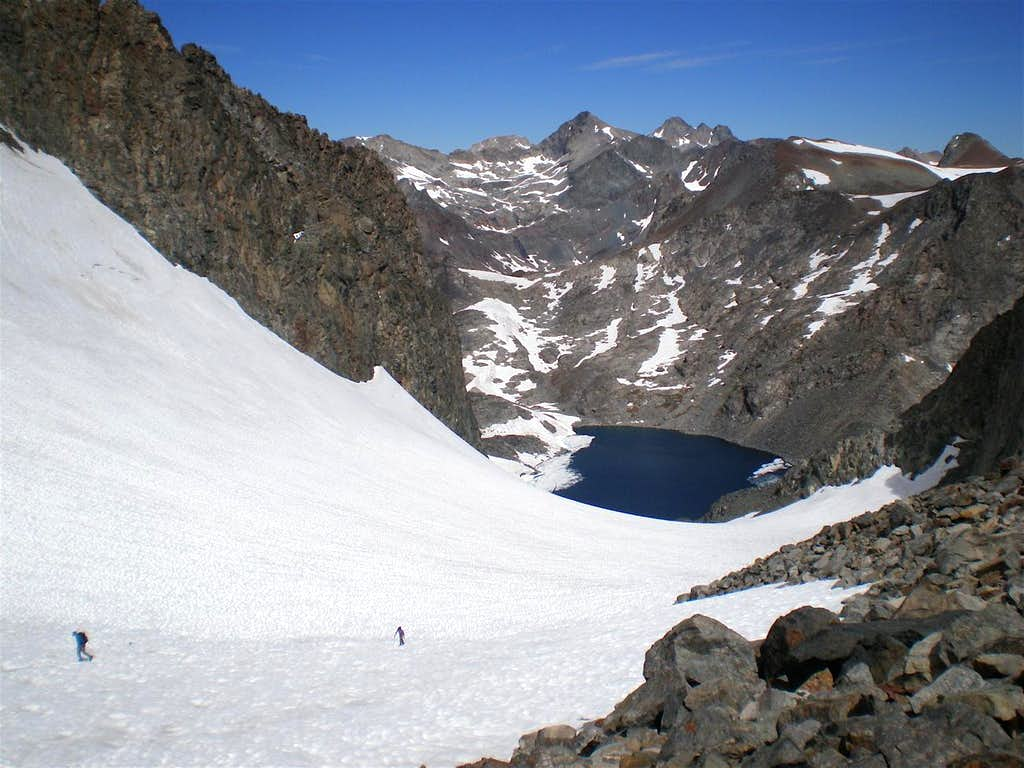 Climbing up the glacier to the Ritter-Banner Saddle from Catherine Lake