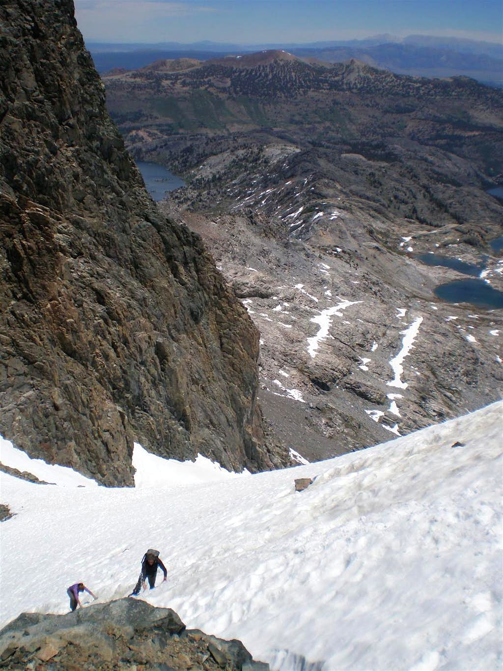 Approaching the start of the north face route