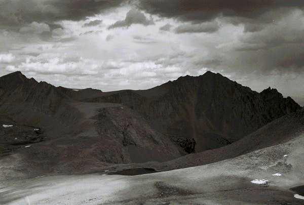 Near Mount Williamson in black and white.