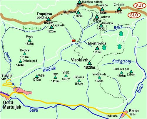 The map of Visoki vrh and Mojstrovica