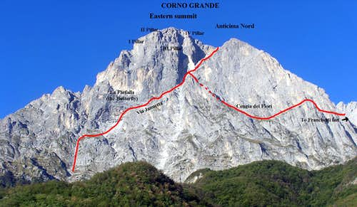 Corno Grande Eastern summit east face (Paretone)