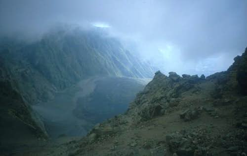 The crater of Mount Meru,...
