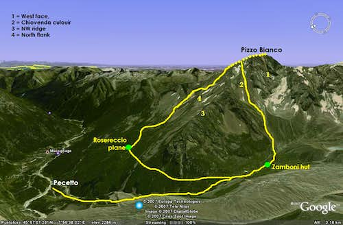 Pizzo Bianco, NW view, routes map.