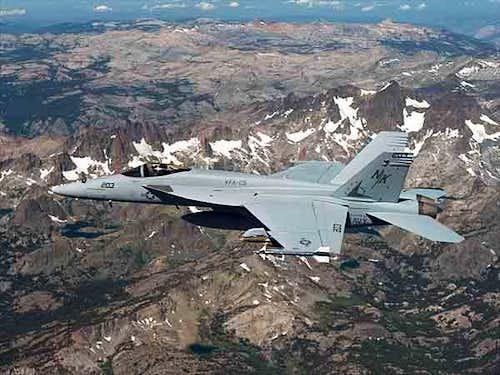 An F/A-18E Super Hornet races...