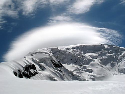 Central icefall and clouds of warning