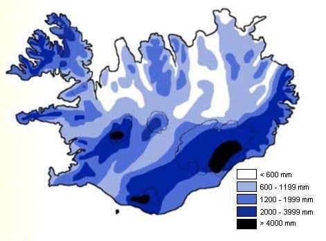 Mean annual precipitation in Iceland for the period 1931-196