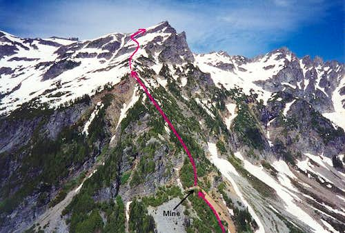 The route up the West Rib of...