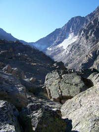 Granite Peak from the boulder field east of Avalanche Lake