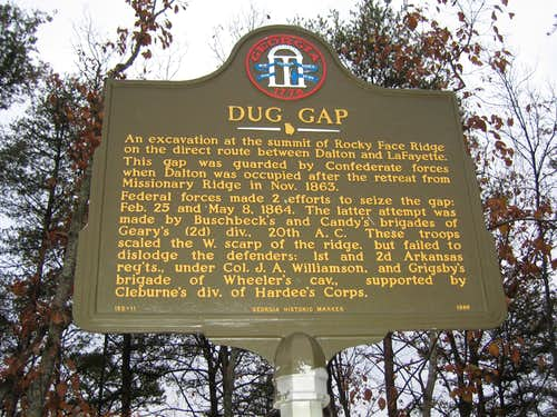 Historical Marker at Dug Gap