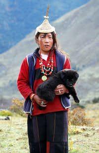 Gasa woman with dog