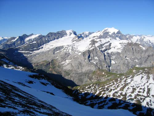 The Bifertenstock 3419m left and the Tödi 3614m right