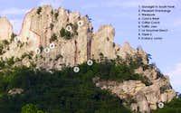 South Peak West Face Features