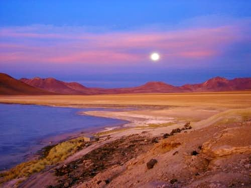 Bolivian moon-rise at sunset