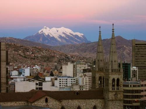Illimani from downtown La Paz