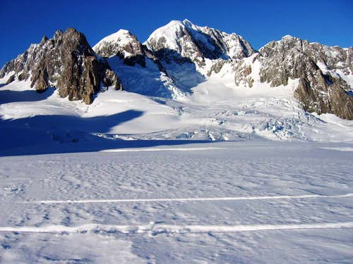 Mts. Haast, Lendenfeld and Tasman (center)