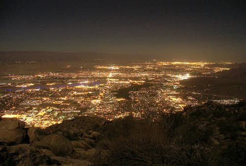 Palm Springs From the C2C Trail under a Full Moon