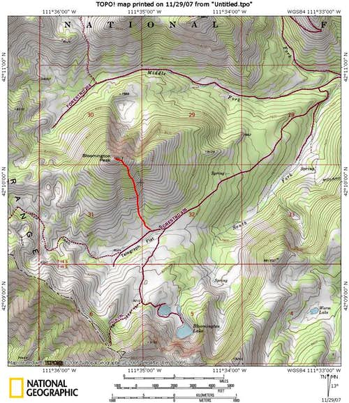 Bloomington Peak Map