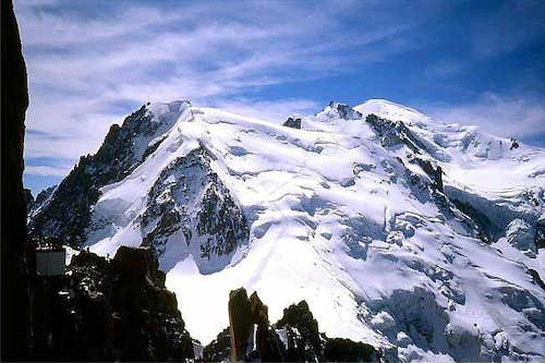 Mont Blanc massif seen from Aiguille du Midi.