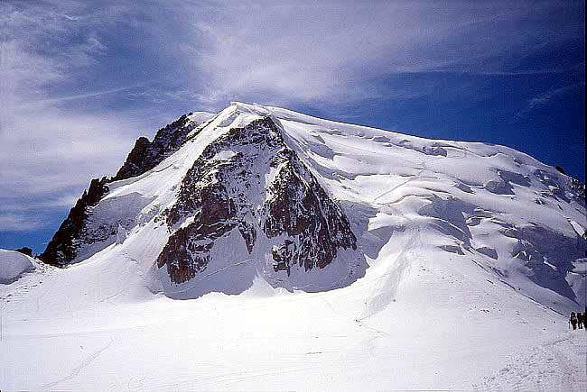 The Mont Blanc du Tacul massif seen from Col du Midi.