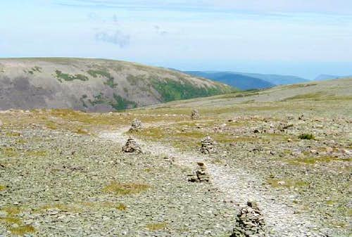 The rocky summit plateau of...
