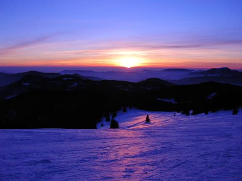 Winter sunset in Black Forest